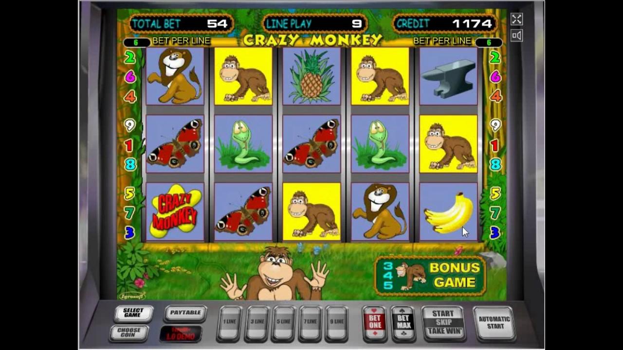 Забавная игра в онлайн автоматы Crazy Monkey в Вулкан казино